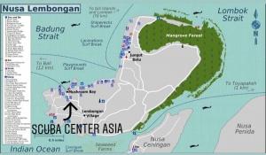 nusa lembongan map - guide to nusa lembongan